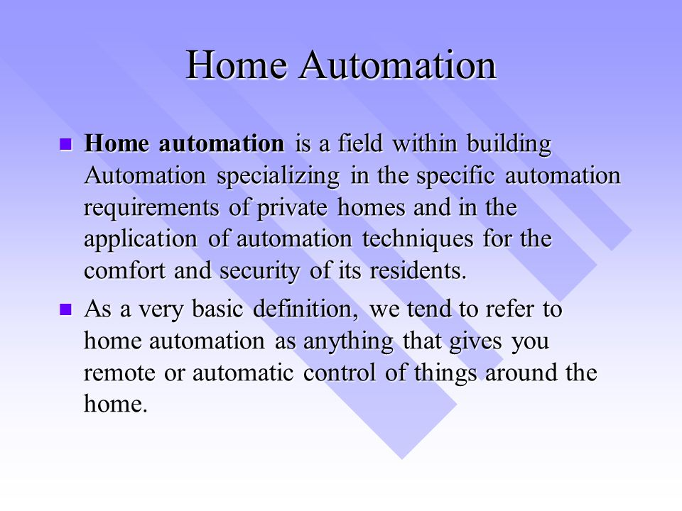 Automation the key to success ppt video online download for Define home automation