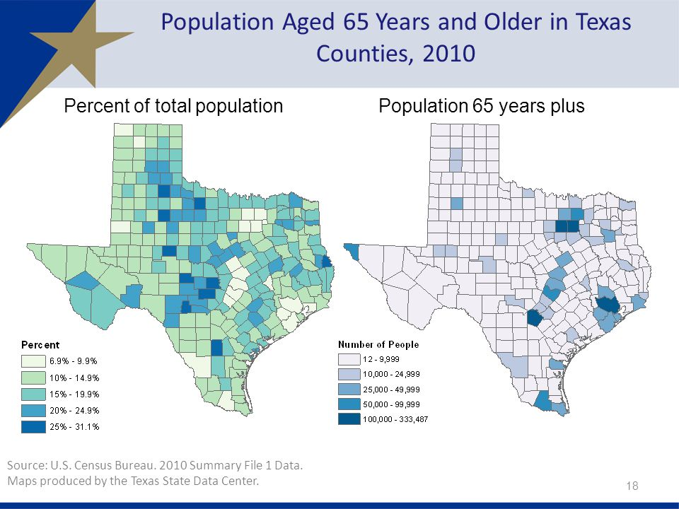 Population Aged 65 Years and Older in Texas Counties, 2010