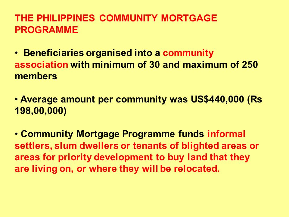 THE PHILIPPINES COMMUNITY MORTGAGE PROGRAMME