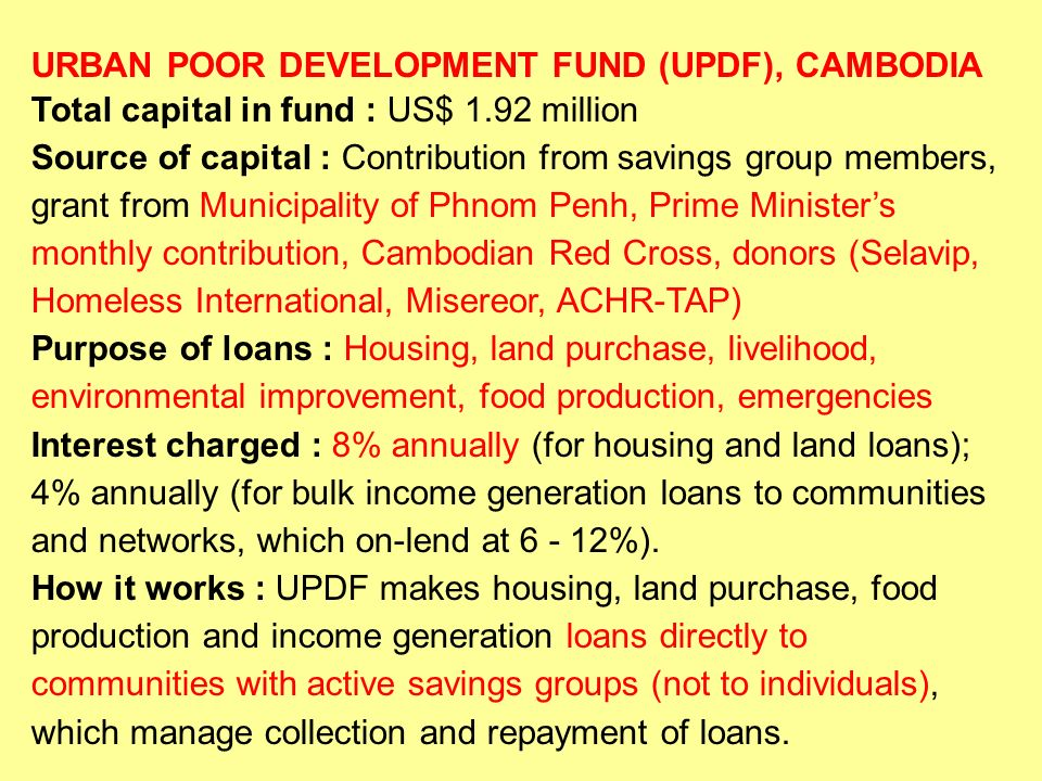 URBAN POOR DEVELOPMENT FUND (UPDF), CAMBODIA