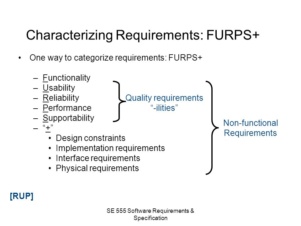 Characterizing Requirements: FURPS+