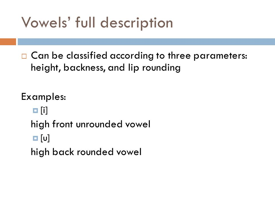 Vowels' full description