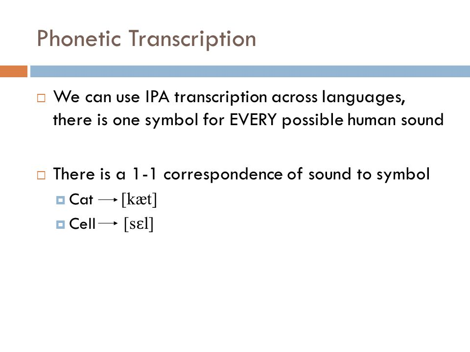 Phonetic Transcription