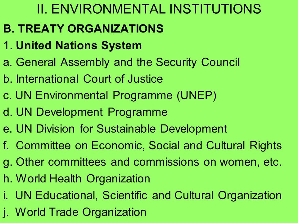 International environmental institutions and committees c essay