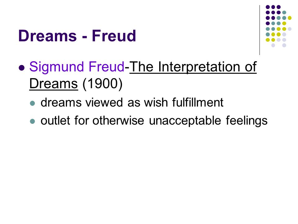 the interpretation of dreams by sigmund freud Sigmund freud about dream interpretation freud showed a huge interest to dream interpretation technique this is because he believed dreams are products.