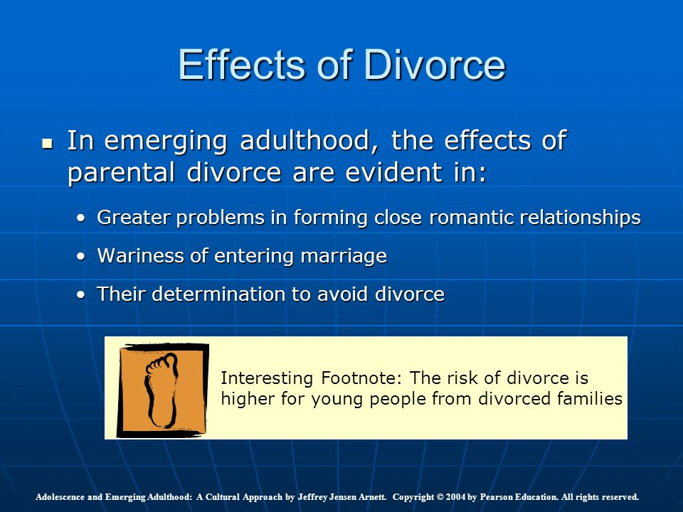 an analysis of the effects of divorce on society The impact of family structure on the health of children: effects of divorce   pediatricians and society should promote the family structure that has the best.