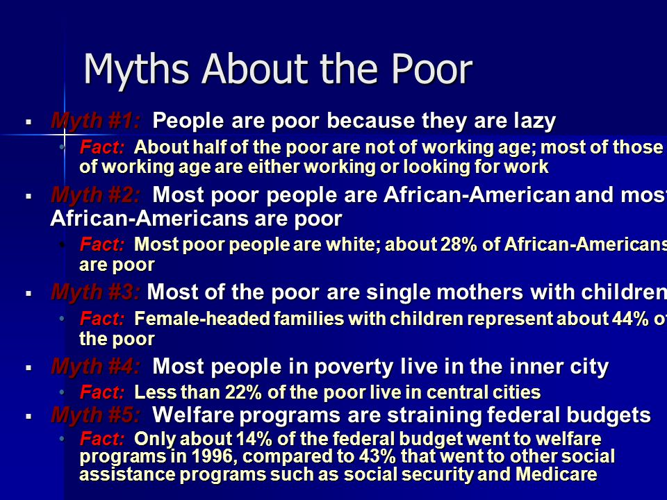 myths about the poor As we think about the poor, the abused, the helpless, what can we do to help  them a lot.