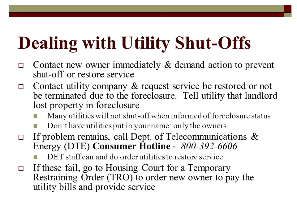 Dealing with Utility Shut-Offs
