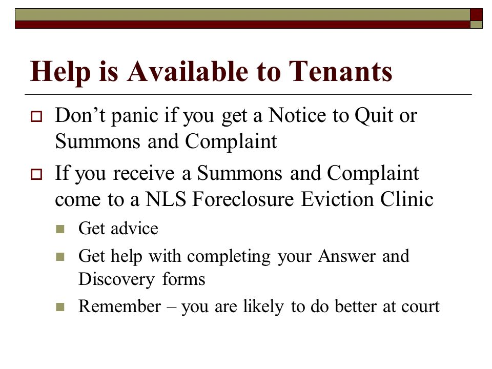 Help is Available to Tenants