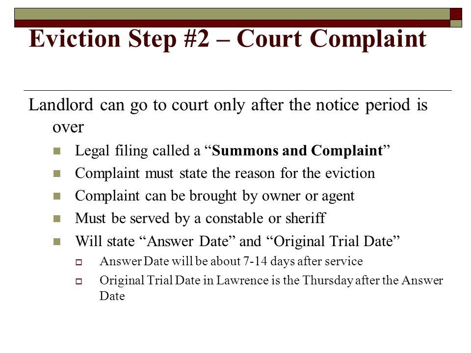 Eviction Step #2 – Court Complaint