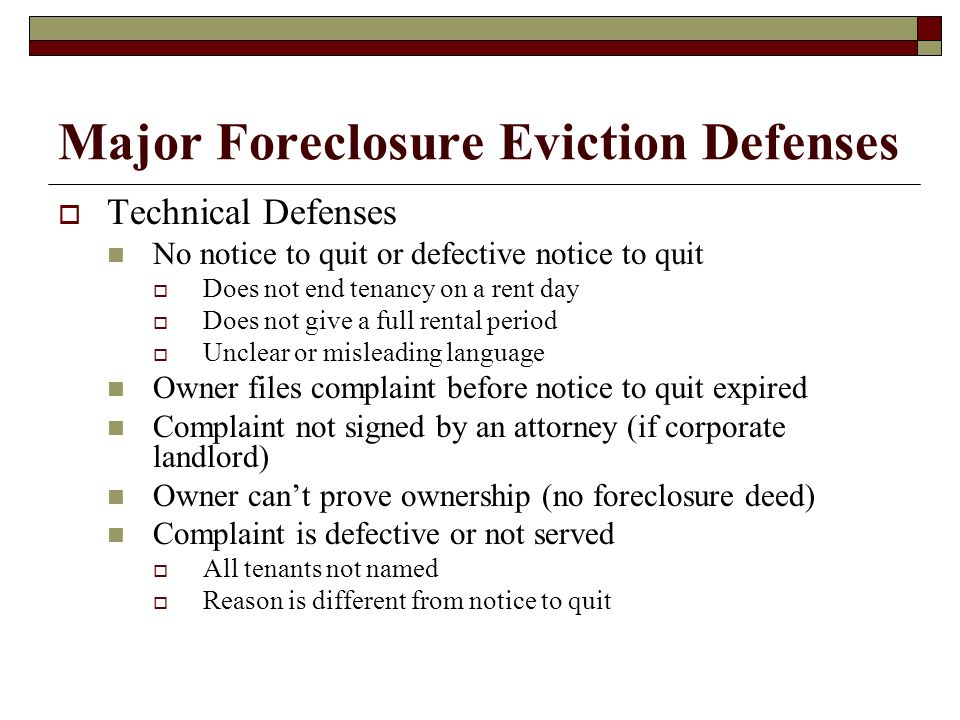 Major Foreclosure Eviction Defenses