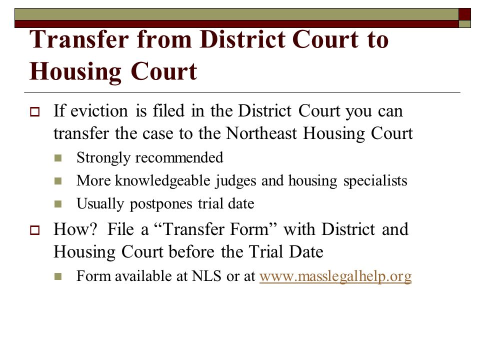 Transfer from District Court to Housing Court