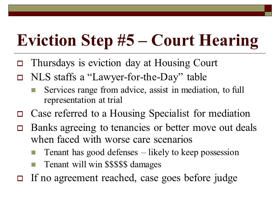 Eviction Step #5 – Court Hearing