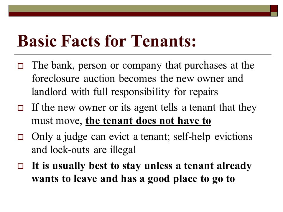 Basic Facts for Tenants: