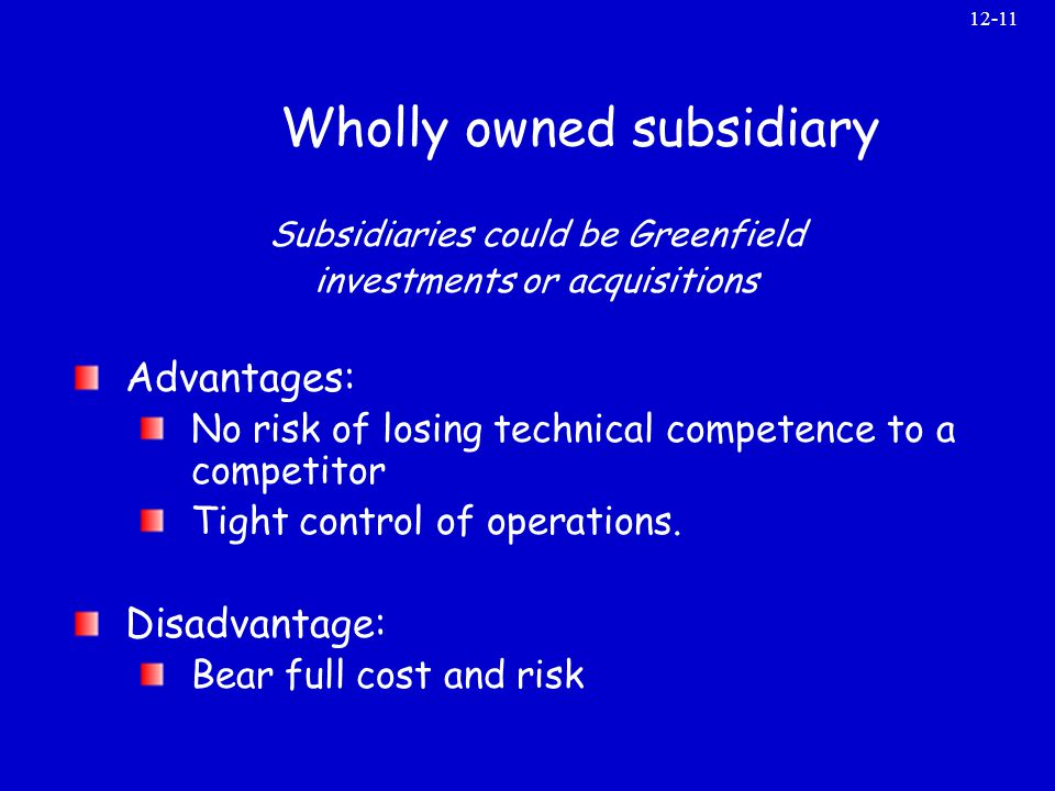 disadvantages and advantages of a wholly owned subsidiaries in a foreign country Joint venture or wholly owned subsidiary which international market entry method is right for your business  exporting has many advantages in that it requires .