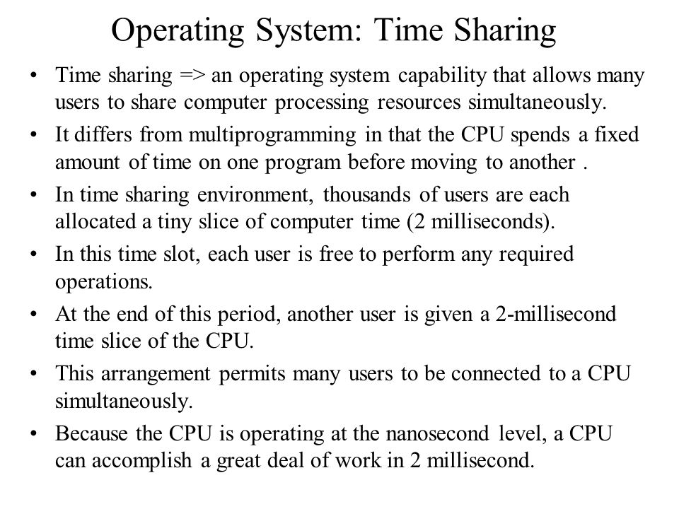 Operating System: Time Sharing