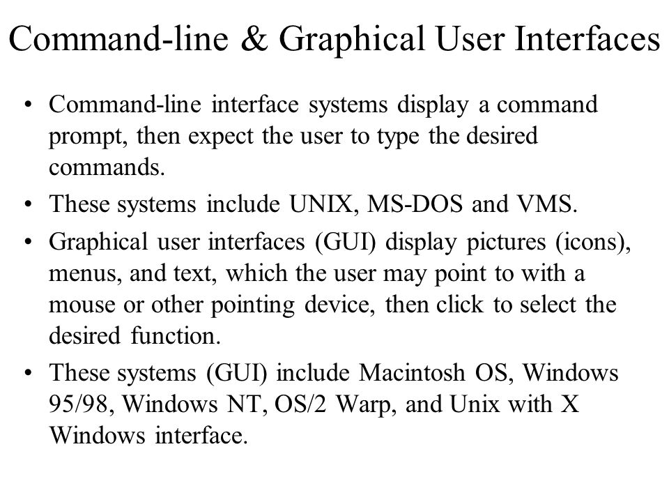 Command-line & Graphical User Interfaces