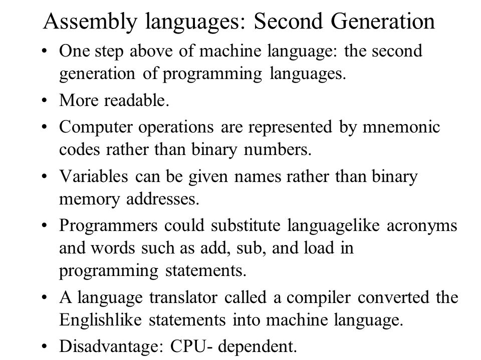 Assembly languages: Second Generation