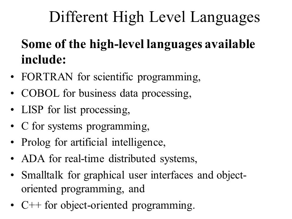 Different High Level Languages