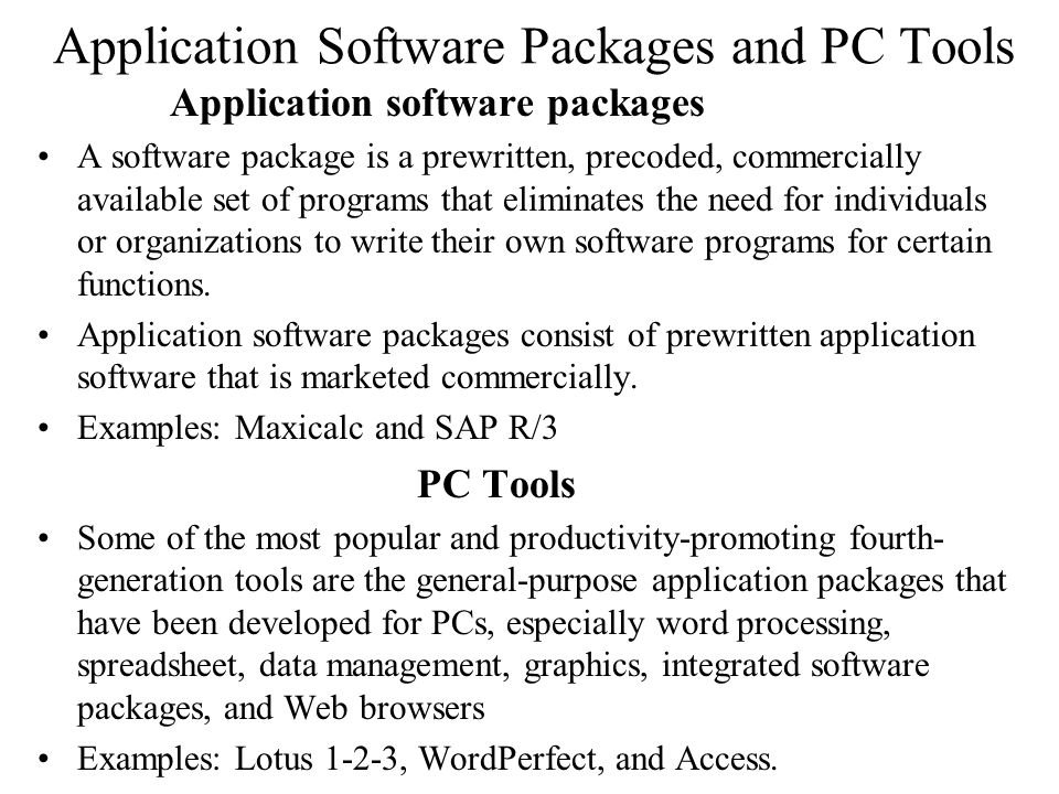 Application Software Packages and PC Tools