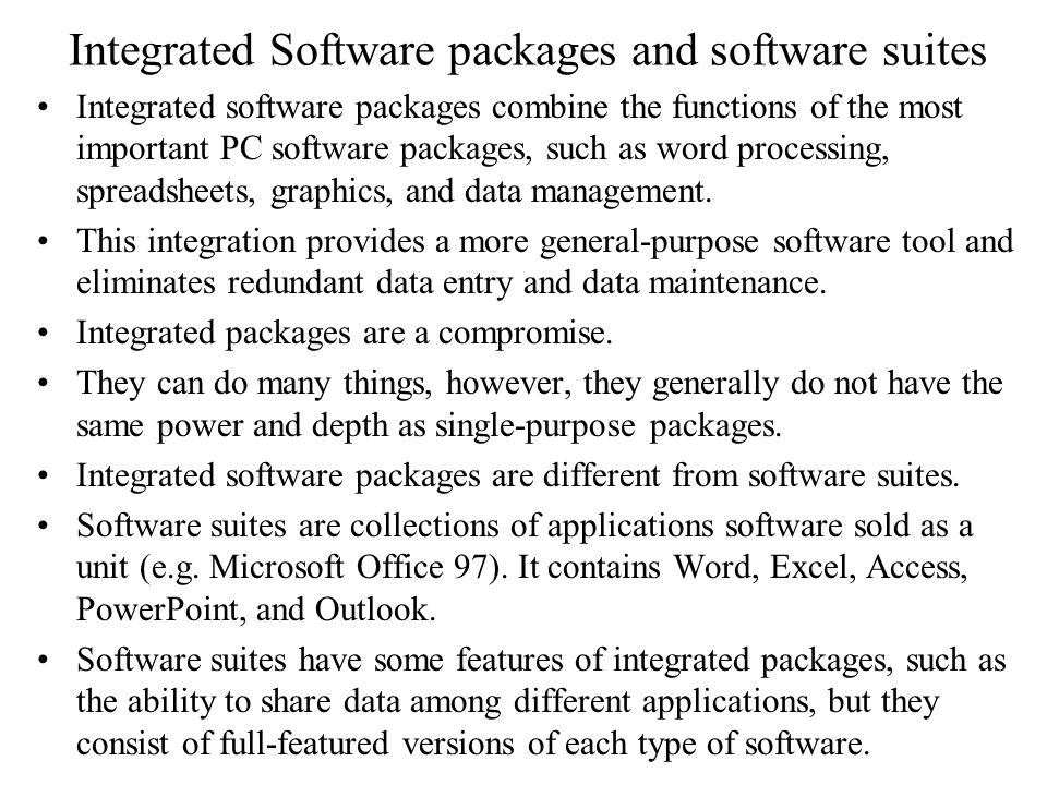 Integrated Software packages and software suites