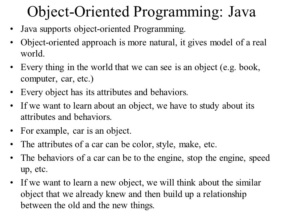 Object-Oriented Programming: Java