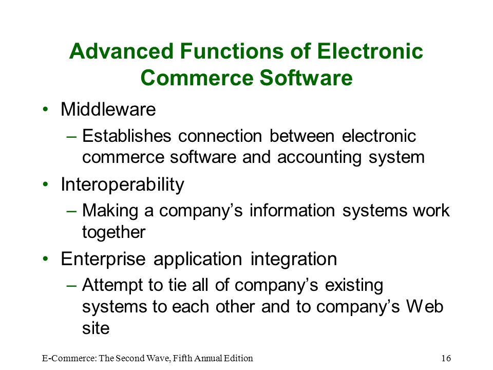 E Commerce The Second Wave Fifth Annual Edition Ppt