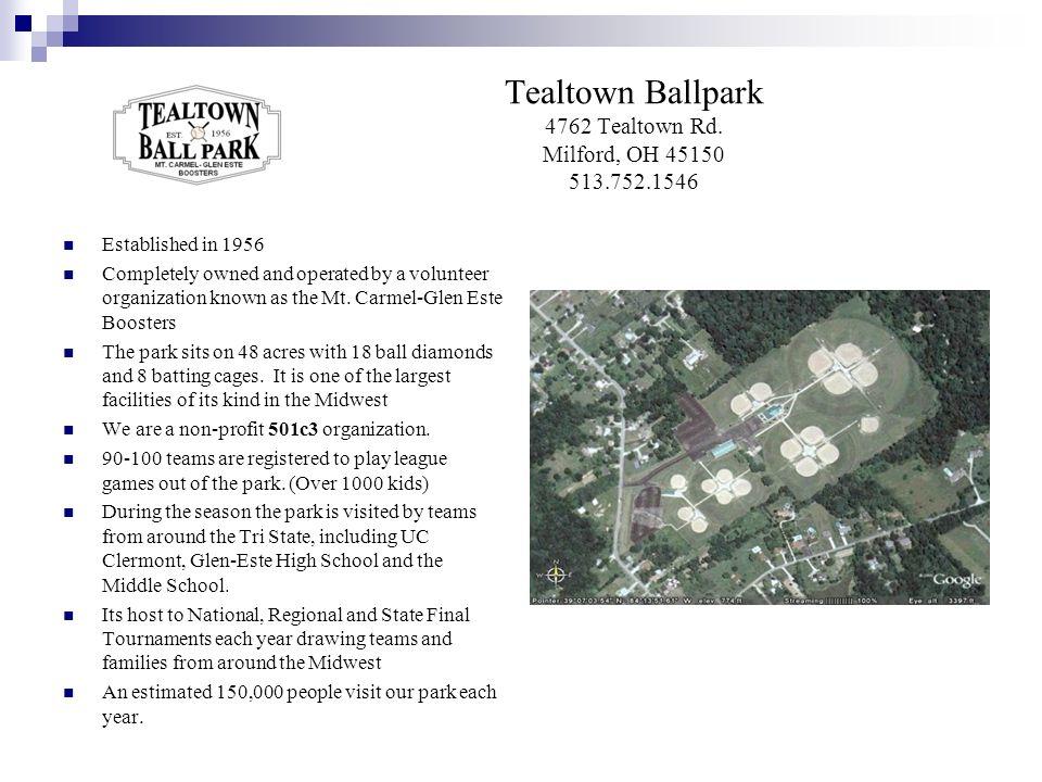 Tealtown Ballpark 4762 Tealtown Rd. Milford, OH 45150 513.752.1546