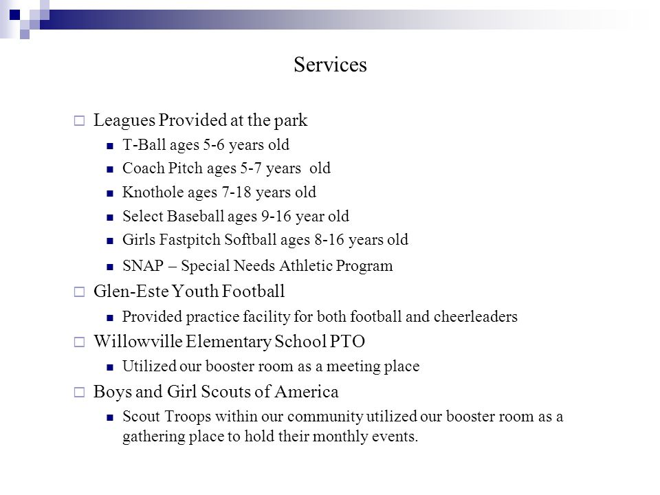 Services Leagues Provided at the park Glen-Este Youth Football