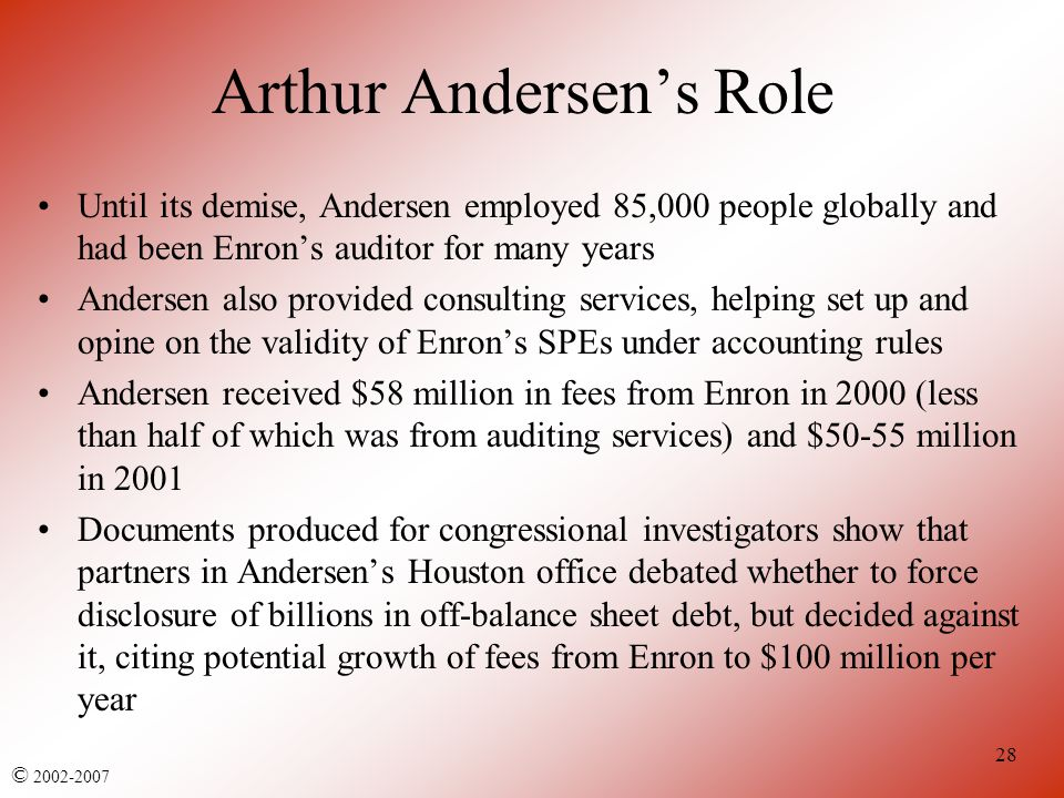 arthur anderson and enron After 89 years in business, arthur andersen llp on saturday ended its role as auditor of public companies the chicago-based company was convicted in june of obstruction of justice for shredding and doctoring documents related to enron audits afterward, andersen told the securities and exchange.