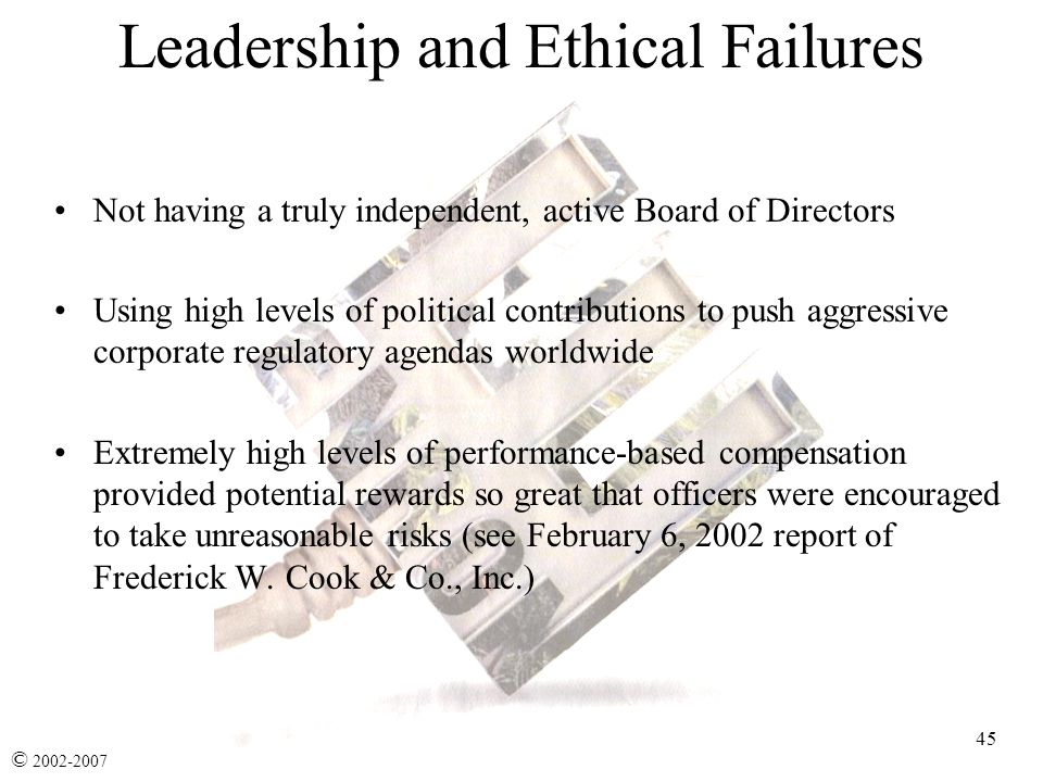 leadership failures of enron The answer to this question seems to be rooted in a combination of the failure of top leadership, a corporate culture that supported unethical behavior,  ultimately, the actions of enron's leadership did not match the company's expressed vision and values  enron: what caused the ethical collapse.