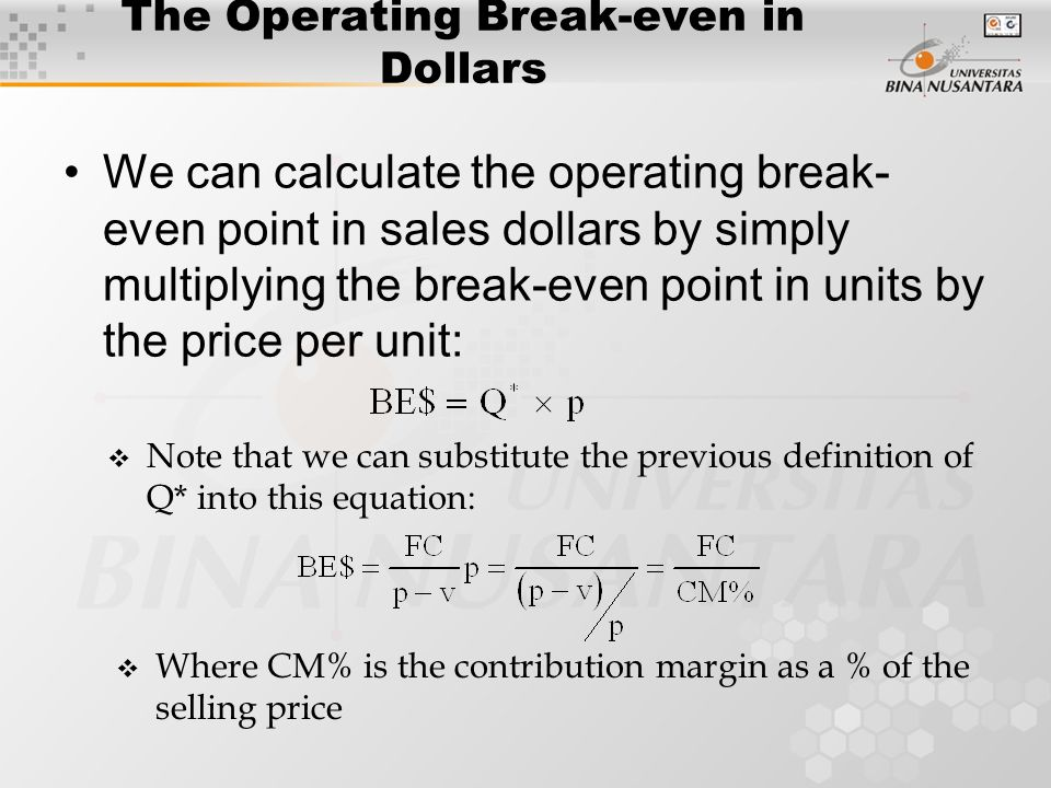 The Operating Break Even In Dollars  Define Breakeven Analysis