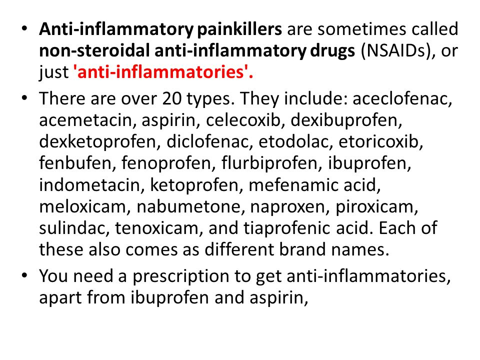 non steroidal anti inflammatories list