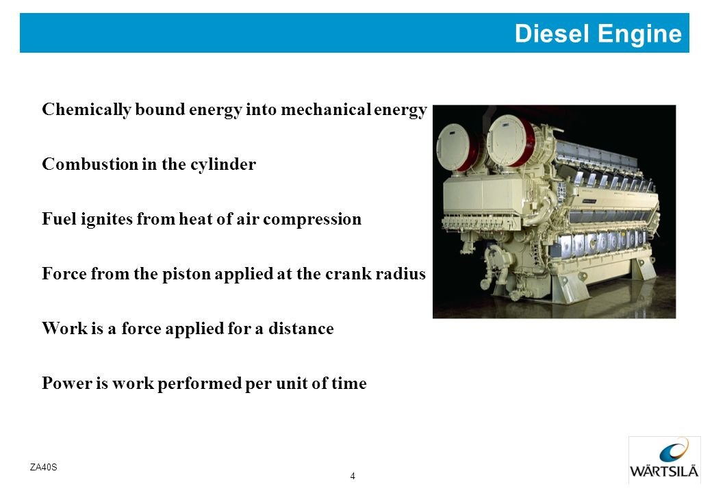 Diesel Engine Chemically bound energy into mechanical energy