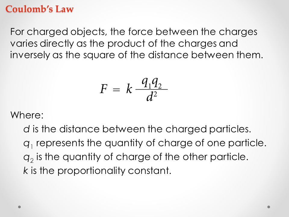 what is the relationship among electric force charge and distance