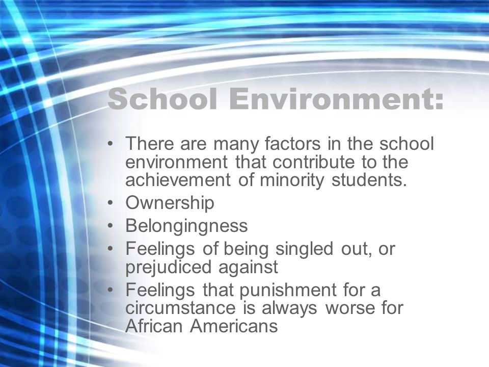 School Environment: There are many factors in the school environment that contribute to the achievement of minority students.