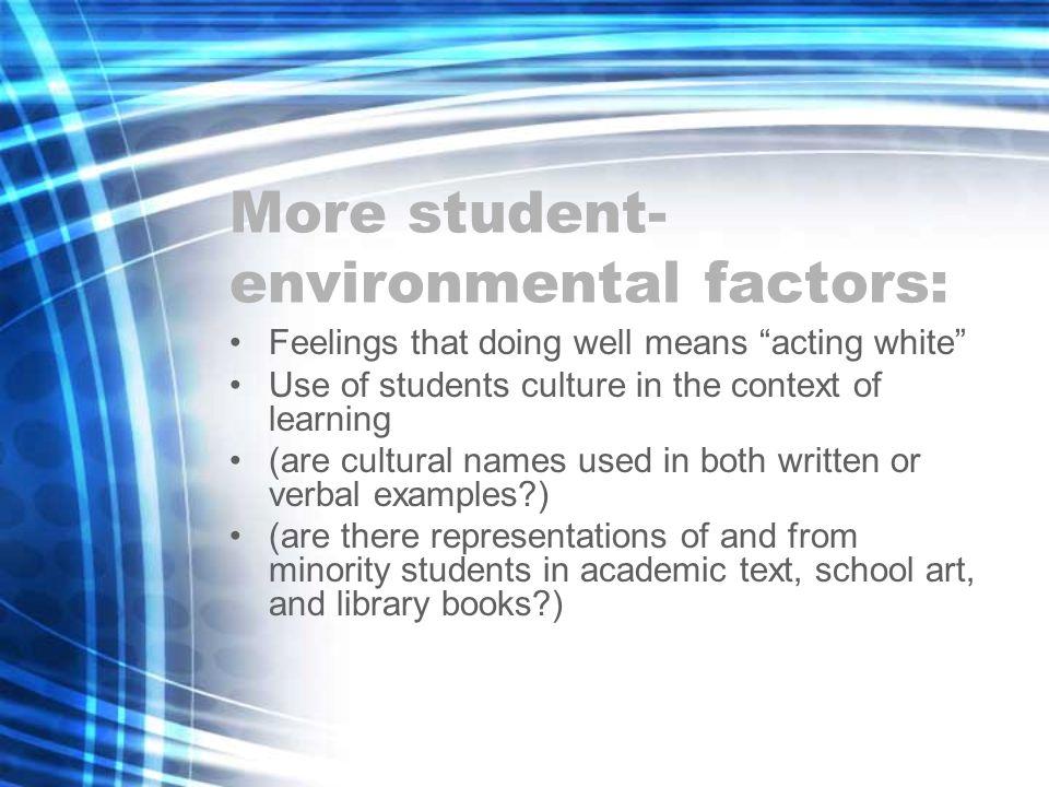 More student-environmental factors: