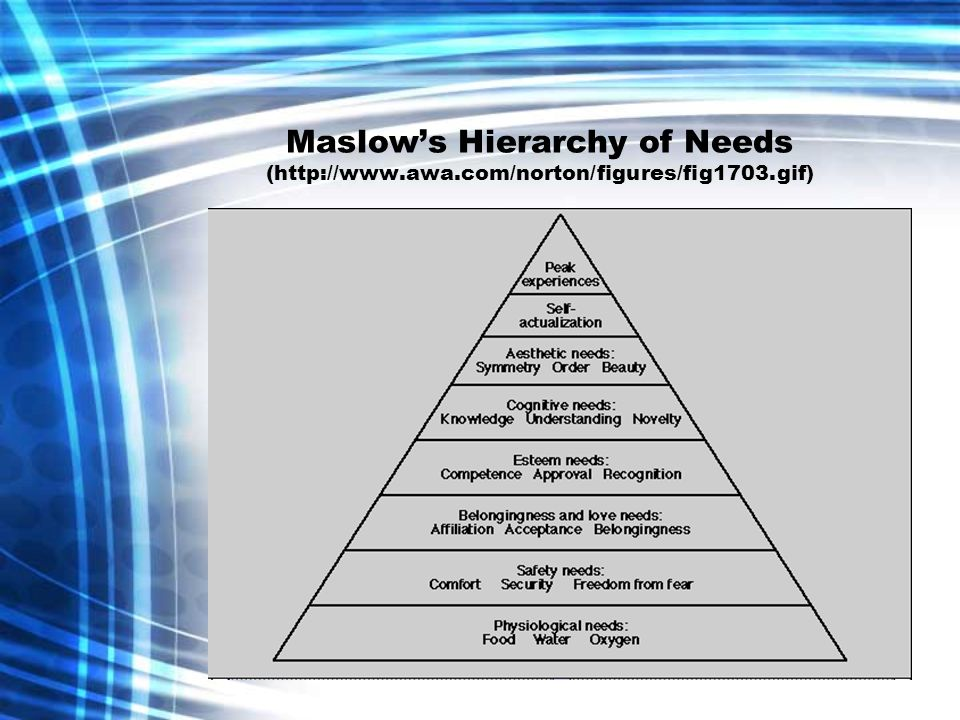 Maslow's Hierarchy of Needs (http://www. awa