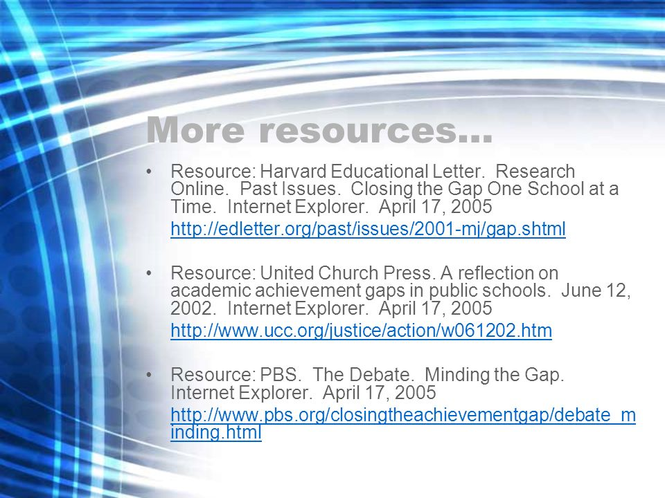 More resources…