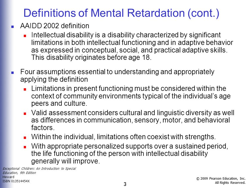 Definitions of Mental Retardation (cont.)