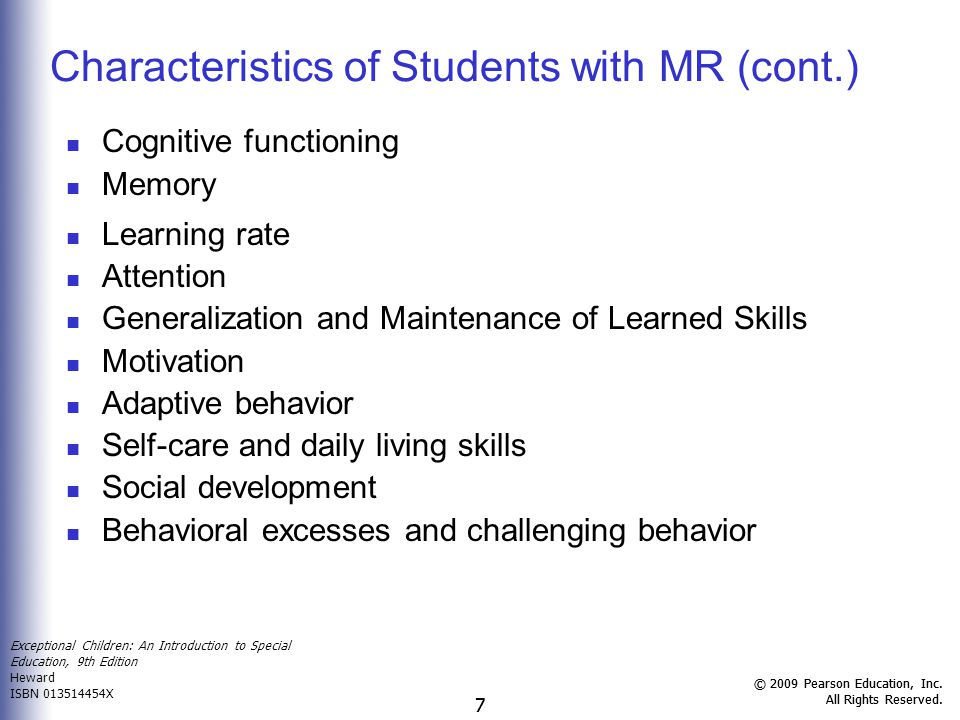 Characteristics of Students with MR (cont.)