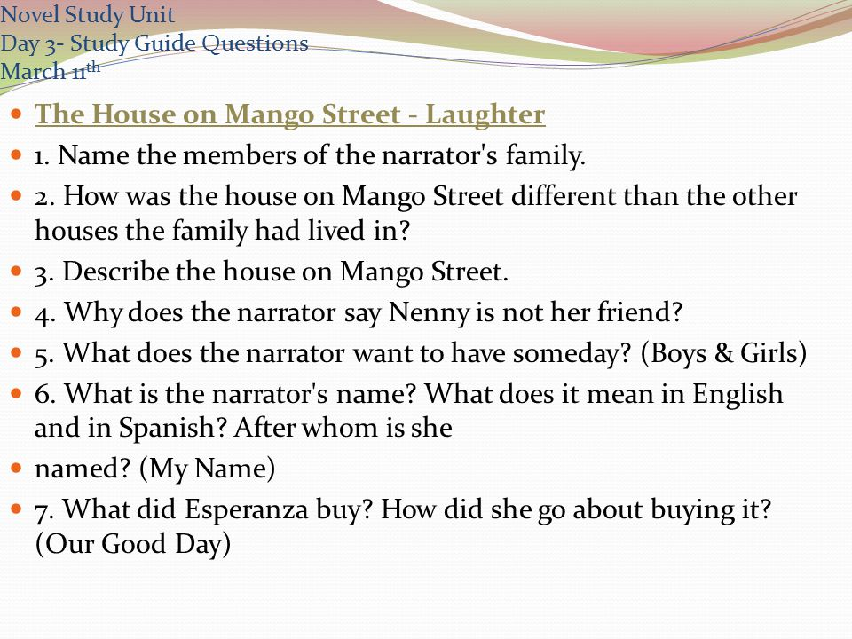 essay questions for the house on mango street The house on mango street by sandra cisneros consisting of 44 short stories, the house on mango street is a powerful book told by a young girl named esperanza cordero.