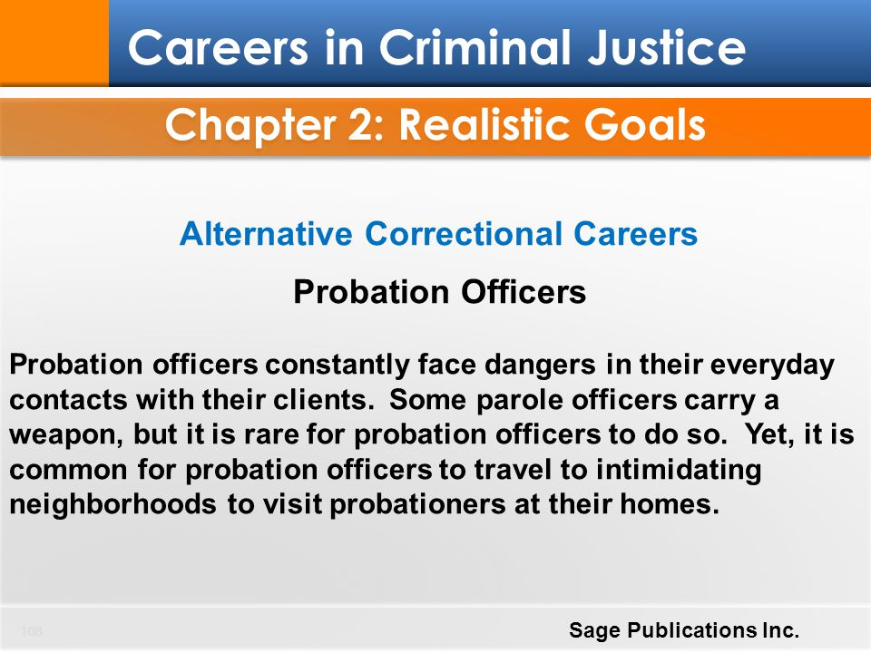 Chapter 2: Realistic Goals Alternative Correctional Careers
