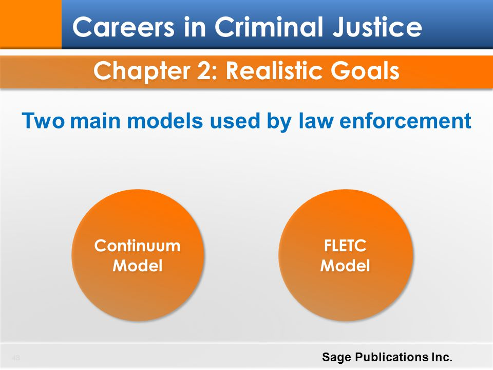 Chapter 2: Realistic Goals Two main models used by law enforcement