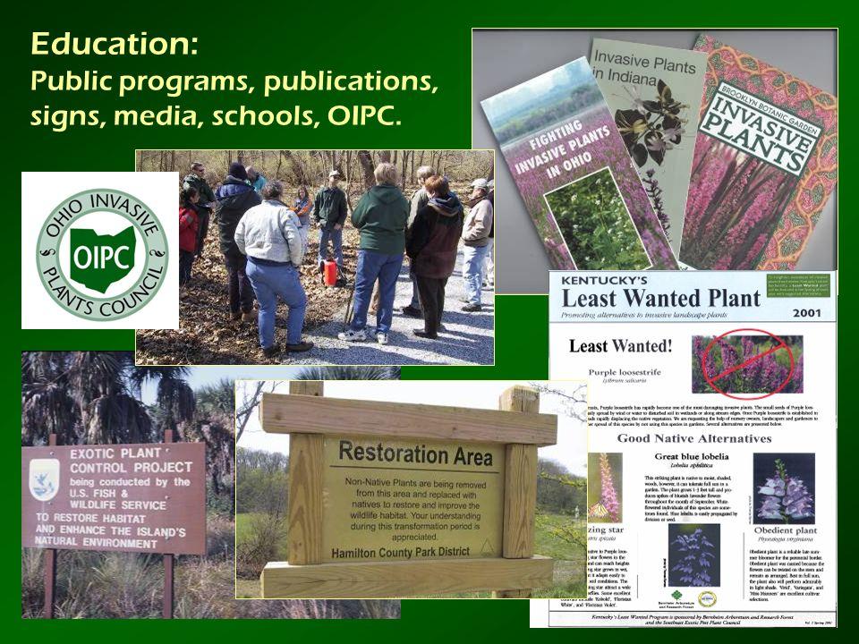 Education: Public programs, publications, signs, media, schools, OIPC.