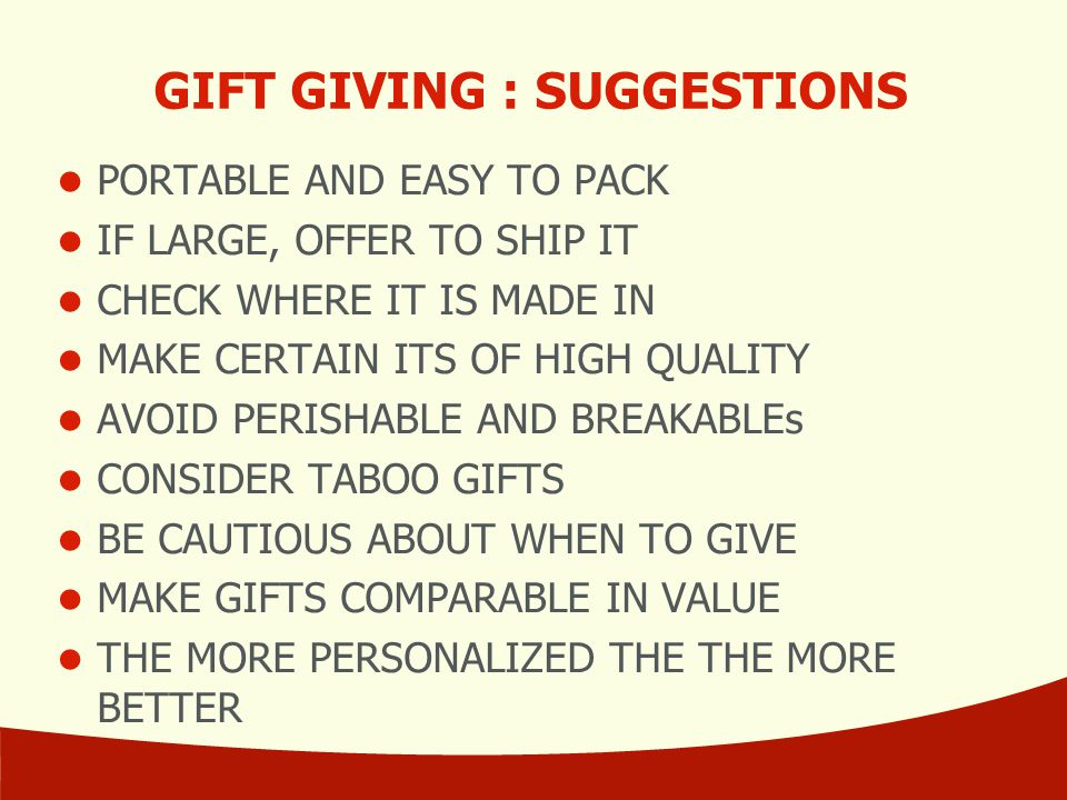 GIFT GIVING : SUGGESTIONS