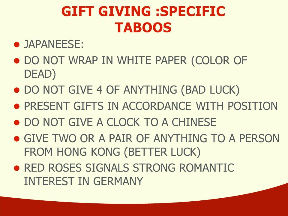 GIFT GIVING :SPECIFIC TABOOS