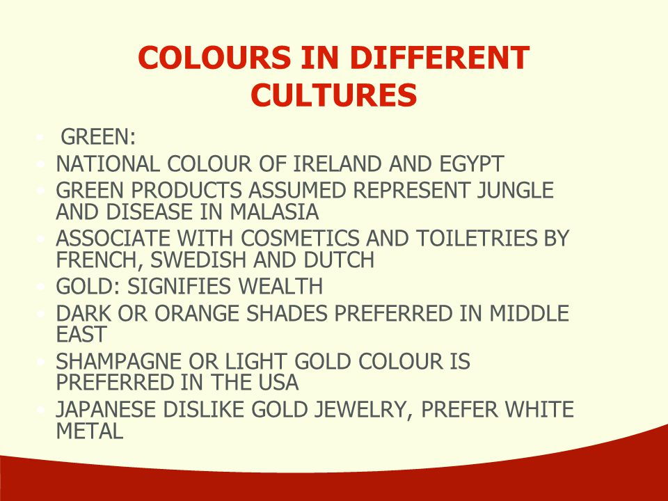 COLOURS IN DIFFERENT CULTURES