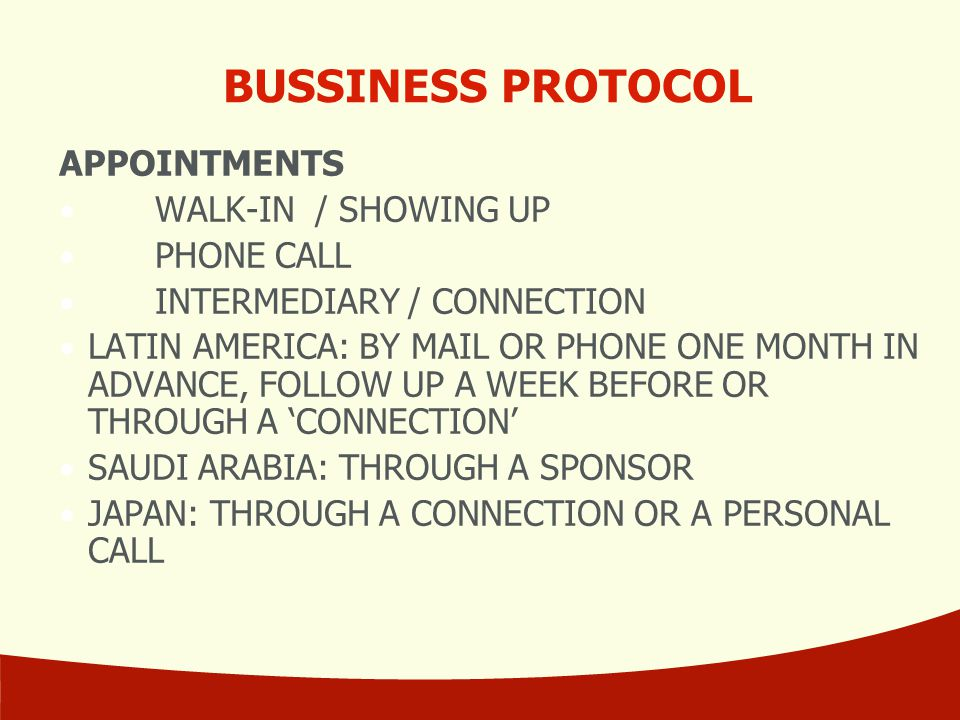 BUSSINESS PROTOCOL APPOINTMENTS WALK-IN / SHOWING UP PHONE CALL