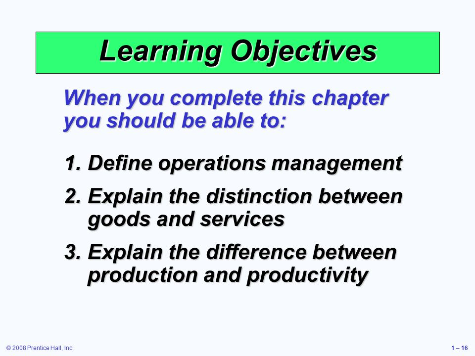 differentiate between production and operation management A first possible distinction in production systems (technological classification) is  between continuous process production and.